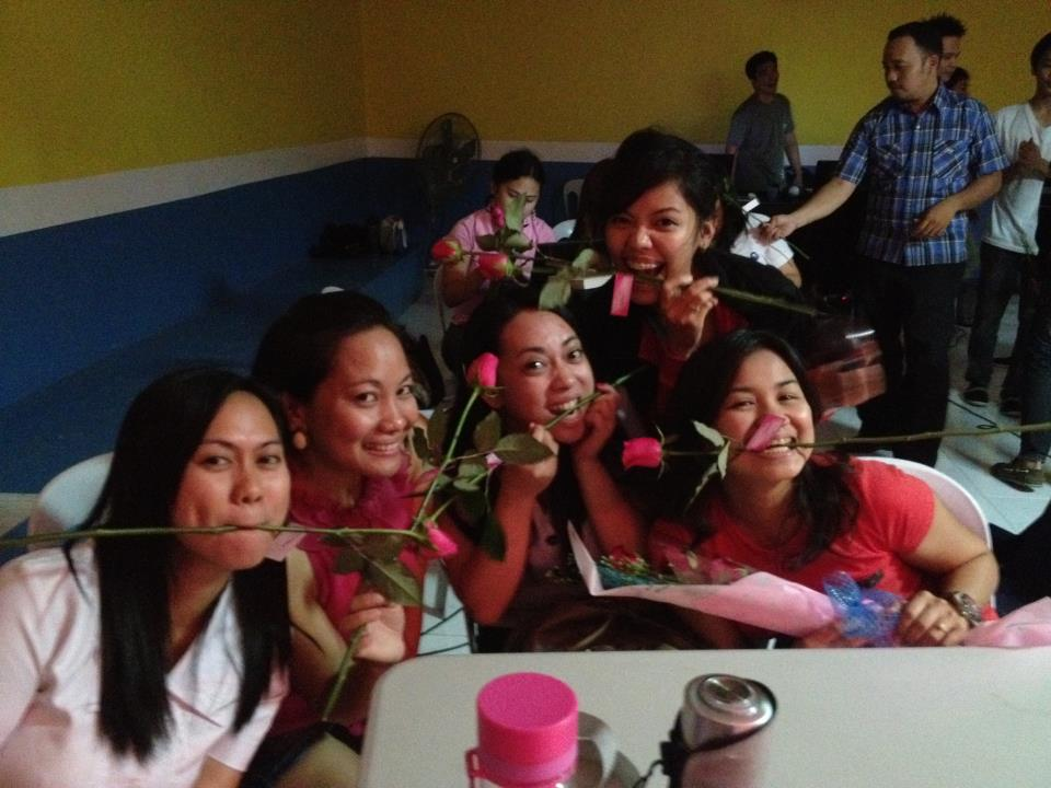 March - The single men surprised the ladies with a video, a song number, ice cream, cake, and long-stemmed roses after the Thursday Prayer Night. Sweet. <3