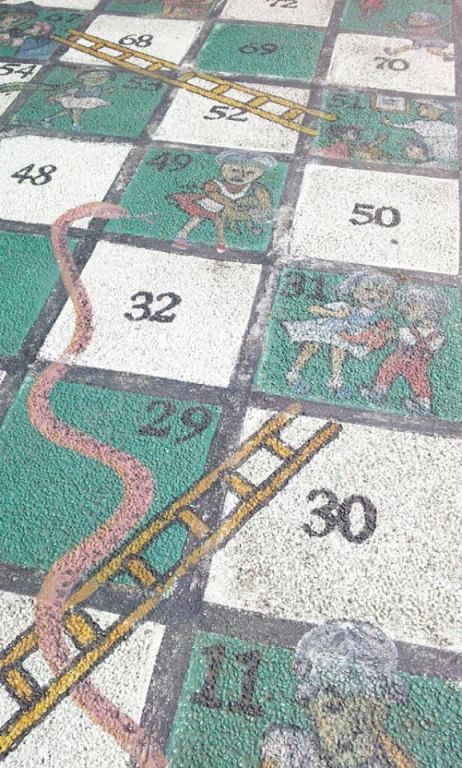 This is a huge board of Snakes and Ladders which is similar to the life-size chess board in Marikina. I would've tried playing it if there weren't other people who started playing first!