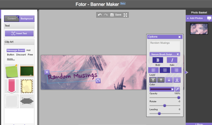 I've been using Fotor as a photo editing app installed on my laptop. I just found out today though that they also have a banner maker!